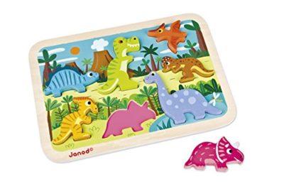 Janod Chunky Puzzle Di Legno 7 Pezzi Dinosauri J07054 0