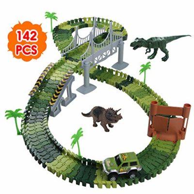 Nuheby Pista Macchinine Dinosauro Giocattolo Auto Giocattolo Pista Flessibile Con Blocchi Traccia Per Bambini Regalo Ragazza Ragazzo 3456 Anni142 Pezzi 0