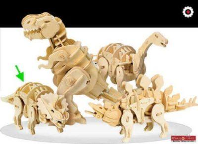 Robotime Kit 94pz Dinosauro Grande Legno Rc Triceratopo Rt 9102 0
