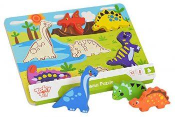 Tooky Toy Puzzle Di Dinosauri Con Figure Di Legno Per Inserire Giocattolo Educativo Per La Prima Infanzia 0