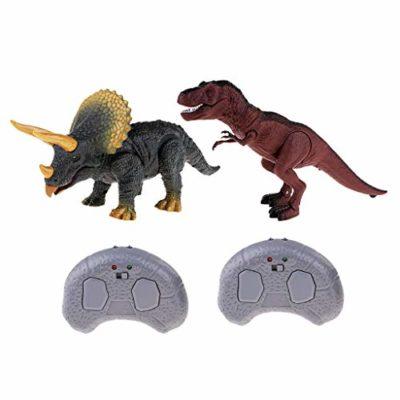 Flameer Giocattoli Elettronici Radiocomandati Rc Con Luce E Suono Per Bambini Triceratopo T Rex 0