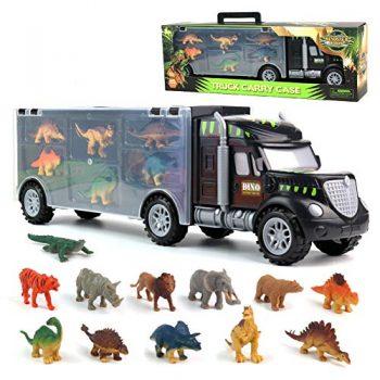 Pilego Giocattoli Dinosauri Camion Del Trasportatore Giocattoli Del Camion Con 6 Mini Dinosauri E 6 Animali Giocattoli Per Bambini 3 4 5 6 Anni 0