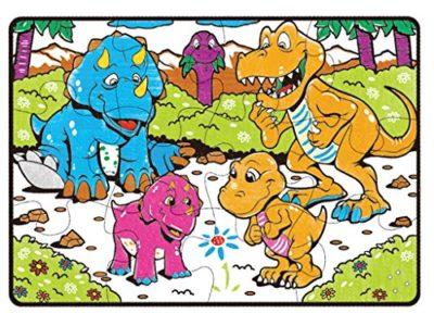 Teorema 64807 Puzzle Da Colorare Dinosauri 18 Pastelli Ad Olio Inclusi 87 X 58 Cm 0