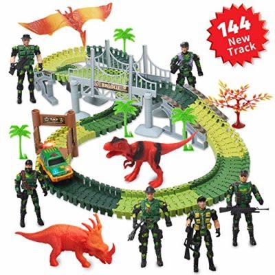 Actrinic Kit Giocattolo Dinosauro Giurassico Mondiale E 144 Piste Flessibili Contiene 2 Dinosauri1 Veicolo Militare5 Alberi2 Slope Pedenti1 Doppia Porta E 1 Ponte 6 Soldato 0