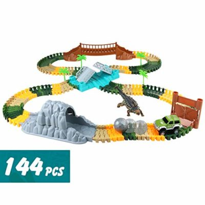 Nuheby Pista Macchinine Auto Veicoli Dinosauro Pista Flessibile Giocattoli Per Bambini Regalo Ragazza Ragazzo 3 4 5 6 Anni 144 Pezzi 0