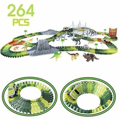 Nuheby Pista Macchinine Dinosauri Giocattolo Per Bambini 264 Pezzi Auto Giocattoli Dinosauro Pista Flexible Regalo Ragazza Ragazzo 3 4 5 6 Anni 0