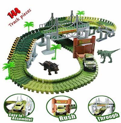 Tropstic Dinosauro Giocattolo Kit Auto Da Corsa Pista Gioco Con 144 Pezzi Jurassic Dino Mondiale Flessibile Pista Auto Playset Per Natale E Di Compleanno Per Bambini Dai 3 Anni 0