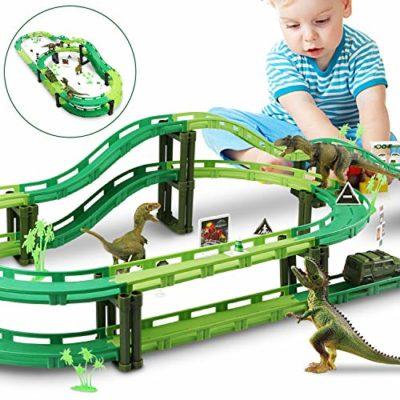 Wostoo Giocattolo Dinosauro Pista Macchinine Dinosauro Giocattolo Auto Giocattolo Pista Flessibile Con Blocchi Traccia Per Bambini Regalo Ragazza Ragazzo 0