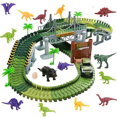 Wobosen Pista Macchinine Elettriche Auto Veicoli Dinosauro Pista Flessibile Giocattoli Per Bambini 3 4 5 Anni142 Pcs Dinosauro Pista 0