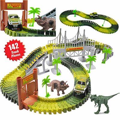 Deao Giostre Nel Parco Giurassico Circuito Delle Auto Mondo Dei Dinosauri Set Include Tracce Flessibili Veicolo Dinosauri E Accessori 0