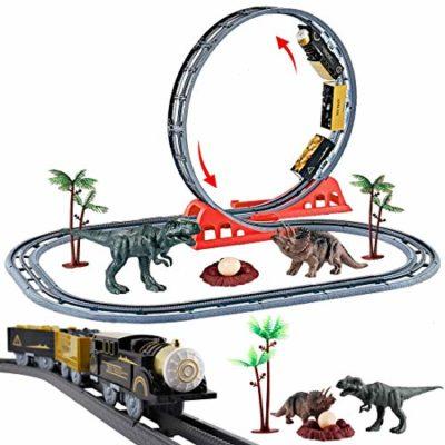 Deao Parco Giurassico Binari Del Treno Nel Mondo Dei Dinosauri Set Per Bambini Include Circuito A Doppio Ciclo Treno Elettronici E Accessori Per Rotaie 0