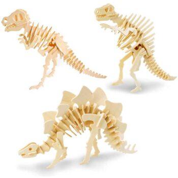 Dinosauri 3d in legno